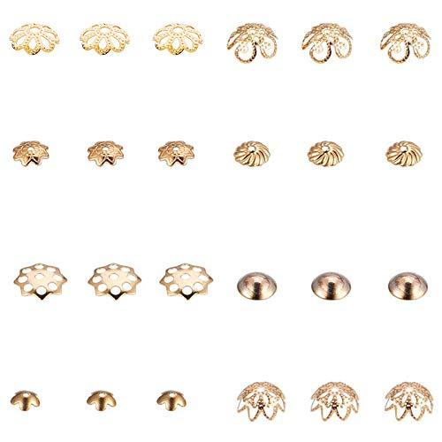 PandaHall Elite Circa 80 Pezzi 8 Stili Fiore Distanziali per Cappucci Tallone di 304 Acciaio Inossidabile Perline distanziatore per Fare Braccialetti collane Gioielli d'oro