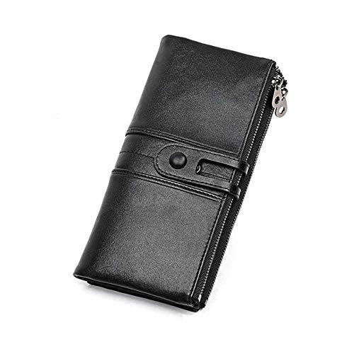 Mannen portemonnees Lange Rits Echt Lederen Mannelijke Koppeling Tassen Met Cellphone Houder Hoge Kwaliteit Kaarthouder Portemonnee