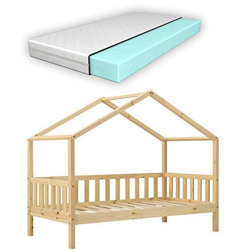 Cama para niños con Colchón Cama Infantil Elevada 160x80 cm Estructura Casa de Madera Pino con Reja Certificado Oeko-Tex 100 Madera Natural