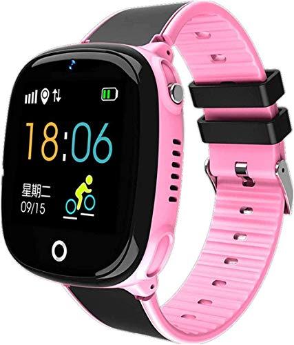 Reloj inteligente para niños reloj inteligente para niños, GPS, Bluetooth, podómetro, posicionamiento IP67, resistente al agua, reloj para niños, correa inteligente, color negro, rosa