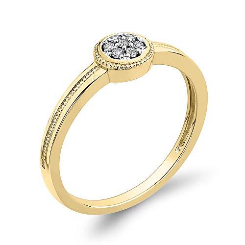 KATARINA Anillo de compromiso con racimo de diamantes en oro de 14 k (1/20 cttw, J-K, SI2-I1)