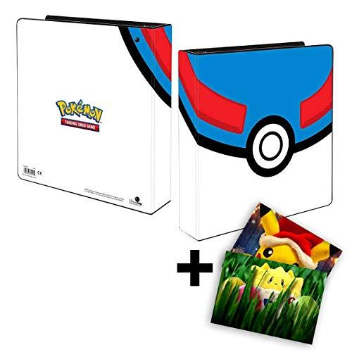 Lively Moments Pokemon Ultra-Pro 3-Ring-Ordner A4 in Superball Optik Sammelkartenalbum + GRATIS Grußkarte