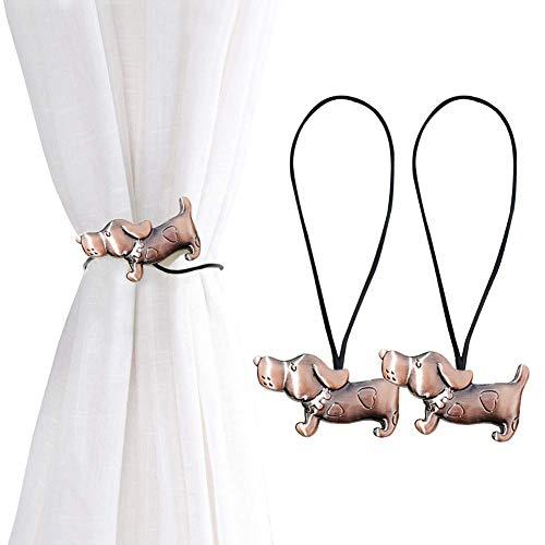 EleCharm 1 Paar Vorhang-Raffhalter mit Katzenmotiv, magnetisch, Deko-Clips aus Metall, kein Bohren Hund_Kupfer