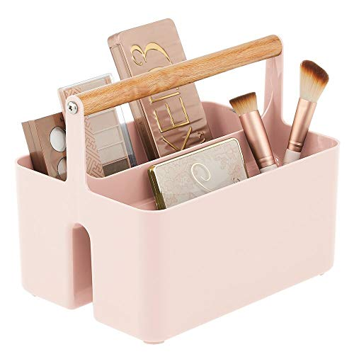 mDesign Plastic Makeup Storage Organizer Caddy Tote - Divided Basket Bin with Wood Handle for Eyeshadow Palettes, Nail Polish, Makeup Brushes, Lipstick, Cosmetic - Light Pink
