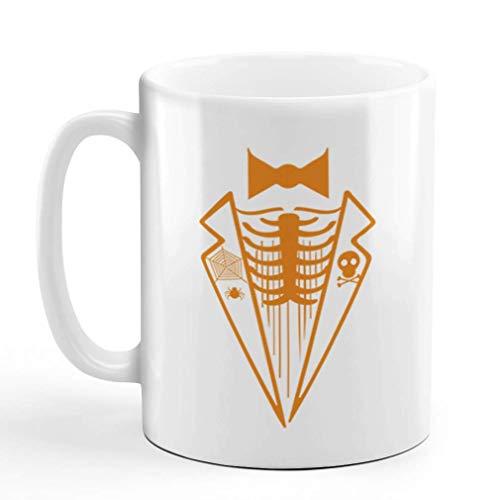 N\A Taza de café 11 onzas Skeleton Tux Halloween Taza de té de cerámica con diseño Solamente
