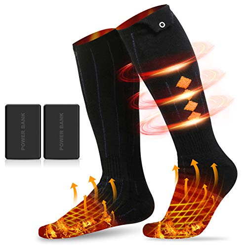 Flagicon Heated Socks for Men Women, 2020 Upgraded Rechargeable Electric Heat Socks with 4 Heating Setting, 5000mAh Thermal Sock for Outdoor Riding Camping Hiking Motorcycle Skiing Snowboating