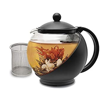 Primula Half Moon Teapot with Removable Infuser Borosilicate Glass Tea Maker Stainless Steel Filter Dishwasher Safe 40-Ounce Black