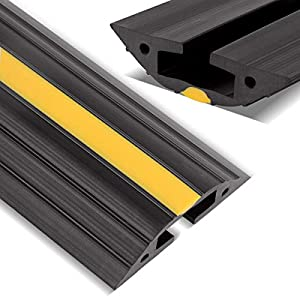 Floor Cord Protector, Stageek 6 Ft Floor Cable Cover Flexible PVC Duct Cord Protector Floor Cable Concealer Channel, Prevent Trip Hazard for Home, Office or Warehouse, Black & Yellow
