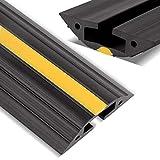 Stageek Protector de Cable para Suelo, 1.83 Meters, Flexible, PVC, protección de Cable de conducto, Canal Corrector, Evita riesgos de tráfico para el hogar, la Oficina o el almacén, Negro y Amarillo