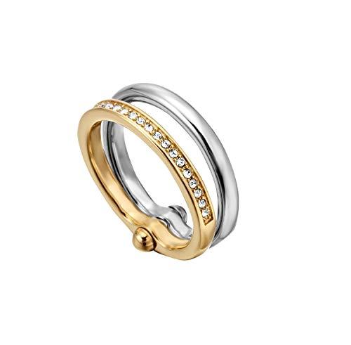 ESPRIT Ring Tata Edelstahl/Gold mit Zirkoniasteinen, Ringgröße:58 (18.4 mm Ø)