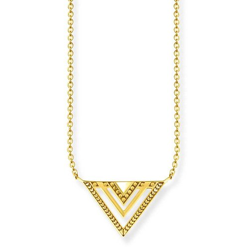 THOMAS SABO Damen-Collier Vergoldete Halskette Afrika Dreieck Silber vergoldet 11 cm - KE1568-413-39-L45v