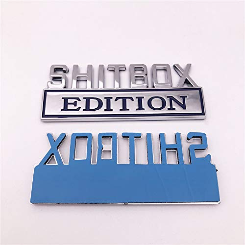 1PC Chrome Blue Word SHITBOX Edition 3D Letter Emblem Badge Sticker Decal for GMC Chevy Car Truck
