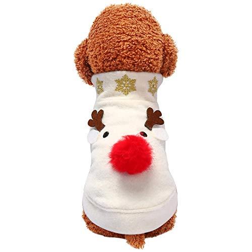 DRT hond kerstjurk pluche rode neus schoon wit trui kat schattig elk wollen jas huisdier kleding, S, Zoals getoond
