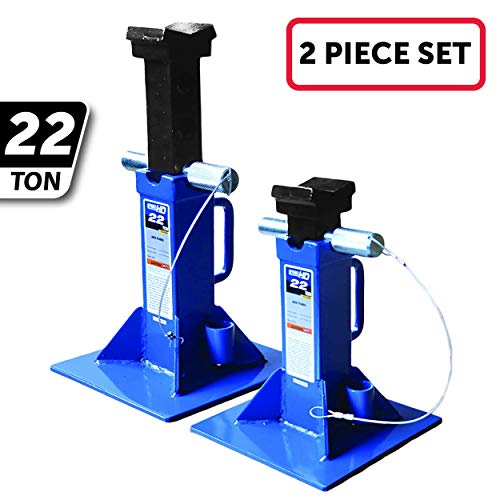 """K Tool International 22 Ton Heavy Duty Jack Stands Pair, Pin Style Lock, 10"""" No Wiggle Saddle Base, Steel Frame, Adjustable Height to 19 7/10""""; KTI61222A"""
