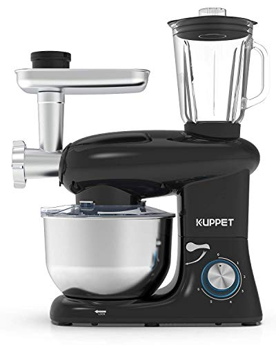 KUPPET 3 in 1 Stand Mixer, 6 Speed Electric Mixer, Tilt Head Kitchen Mixer with Meat Grinder and Juice Blender, 6 Quarts 850W Food Mixer - Black