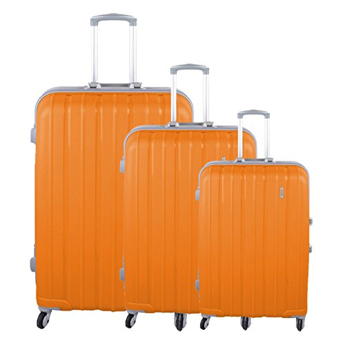 PP Trolley Reise Kofferset 3tlg Trolleyset Aluminium-Rahmen-Stil Zahlenschloss, Farben Koffer:orange