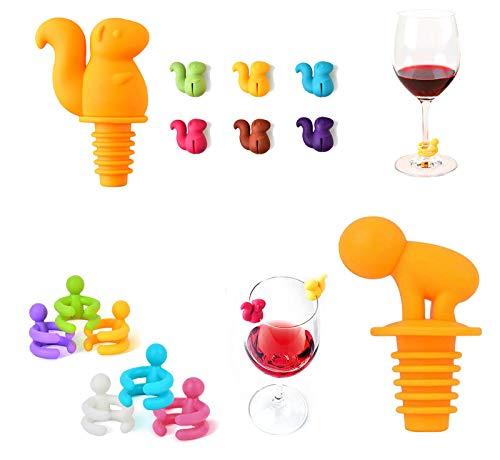 ASFINS Tappi per Bottiglie Segnabicchieri, 2 pezzi Tappi per Bottiglie di Vino e 12 pezzi Segna Calici per Feste Compleanni Feste Estive, Design di Scoiattolo e Ubriacone