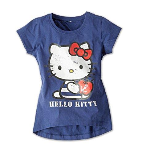 Hello Kitty Mädchen T-Shirt 100% Baumwolle Dunkelblau Kinder Öko-Tex (122/128)