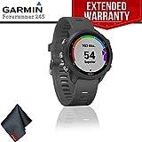Garmin Forerunner 245 GPS Running Smartwatch (Slate Gray) + Extended Warranty + Cleaning Cloth
