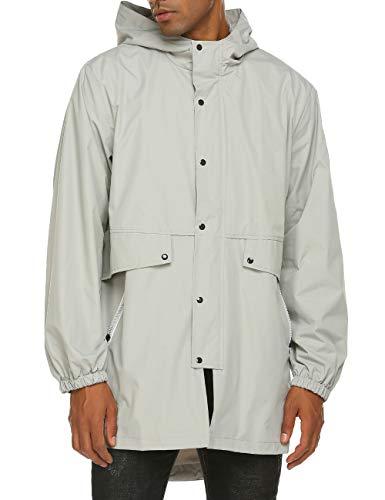 Mens Windbreaker Grey Rain Jacket with Hood