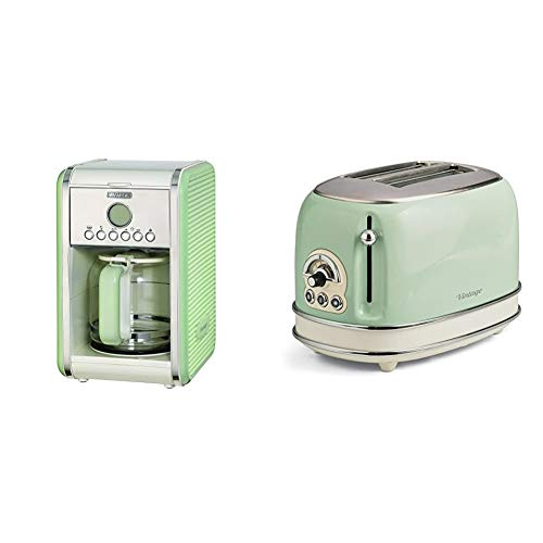 Ariete 1342/04-green 1342 1342GR 12-Tassen-Kaffeemaschine Vintage, 2000 W, grün, Edelstahl, rostfrei, 15 liters & 155 Toaster mit 2 Schlitzen Vintage Vert