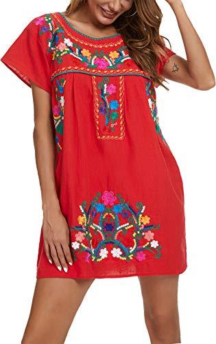 YZXDORWJ Women's Casual Skirt Boho Mexican Peasant Dresse Plus Size XXL Dress (224SR, M, m)