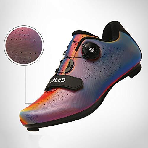 YURU Bicycle Shoes Adults Cycling Shoes Men's Mountain Bike Shoes Breathable Anti-Slip Bike Athletic Racing Shoes,Red-44EU