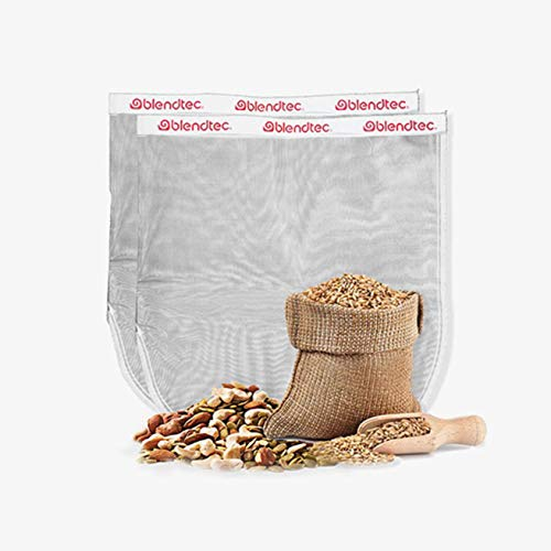 "Blendtec Nut Milk Bag XL Size 13"" x 14"" - Commercial Grade Reusable Nylon Bag - All Purpose Fine Mesh Strainer Great for Celery Juice, Almond Milk, Oat Milk, Cold Brew, Fruit Juices & More (2 Pack)"