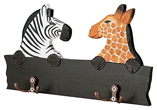 Perchero de pared para habitación infantil, diseño de cebra y jirafa con 4 ganchos, 30 x 17 x 1 cm