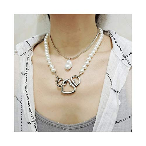 Clavícula Cadena Doble de la Boda del corazón de la Calle de la Hebilla de Las Mujeres Collares Gargantilla Collar Fornido Mujer niña para (Metal Color : 2pcs Set Silver)