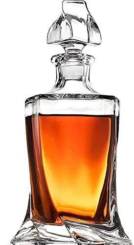 TYUXINSD Hermosa Whisky Decanter Whiskey Glasses Whisky Decanter Decantadores para licores Cristal de Cristal Whisky Decanter Licor de Whisky Libre de Plomo para Alcohol Bourbon Scotch 27.05 Oz