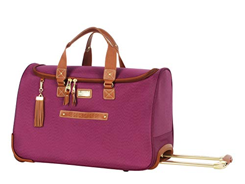 Steve Madden Designer Carry On Luggage Collection - Lightweight 20 Inch Duffel Bag- Weekender Overnight Business Travel Suitcase with 2- Rolling Spinner Wheels (Global Purple)