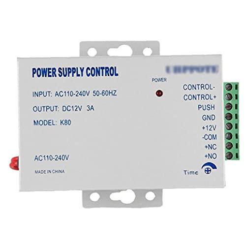 Controlador Bloqueo Bloqueo de la fuente de alimentación Controlador de fuente de alimentación DC 12V AC 110-240V 3A Sistema de control de acceso a domicilio de la puerta K80