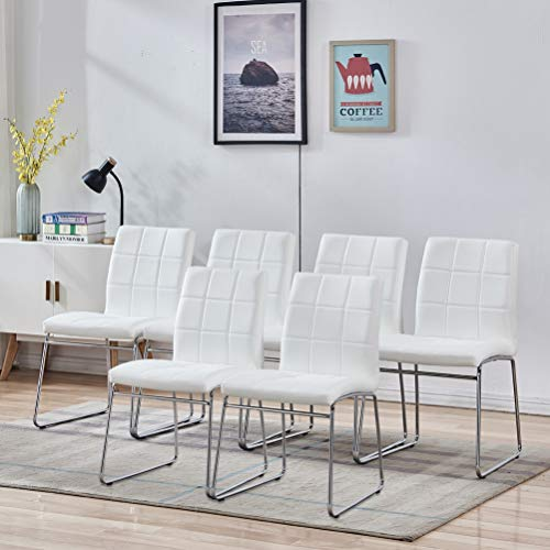 Modern Dining Chairs Set of 6 - Faux Leather Dining Room Chairs, Comfortable Kitchen Chairs with Chrome Legs for Kitchen, Living Room, Bedroom, Dining Room Side Chairs Set of 6 (White)