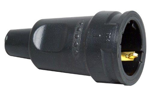 Kopp 180416066 Schutzkontakt-Gummikupplung mit Knickschutztülle, schwarz