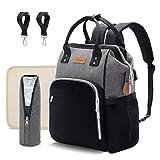 Diaper Bag Backpack Multifunction-Maternity Baby-Bag - Diaper Bag for Baby Boy Girl with USB Charging Port, Travel Nappy Bag Organizer, Waterproof, Black-Gray