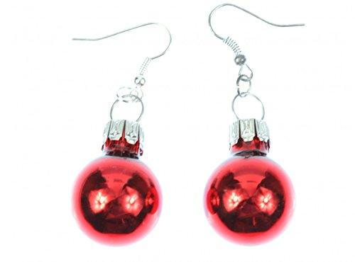 Weihnachtsbaumkugel Ohrringe Miniblings Christbaumkugel Weihnachten rot Glanz