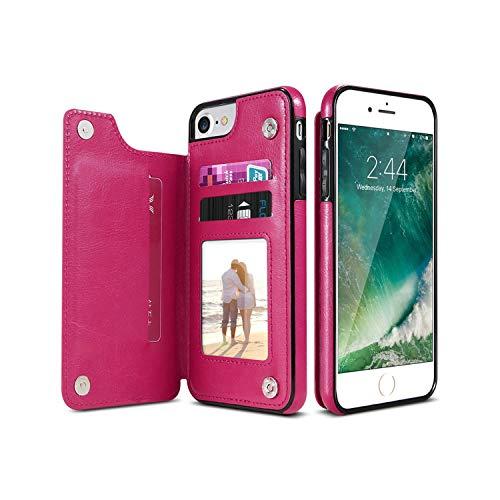 Fun-boutique - Funda de piel sintética para iPhone X 6 6S 7 8 Plus XS 5S Multi Card Holder Phone Cases para iPhone XS XR 11 Pro Max Cover-Hot Pink-for iPhone 11