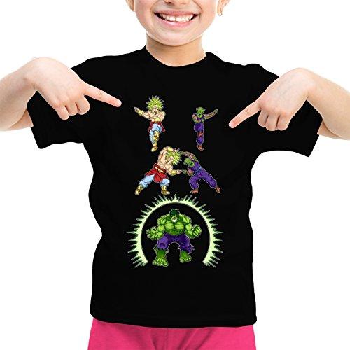 Okiwoki T-Shirt Enfant Fille Noir DBZ, l'incroyable Hulk parodique Piccolo, Broly et Hulk : Les origines de la Puissance. (Parodie DBZ, l'incroyable Hulk)