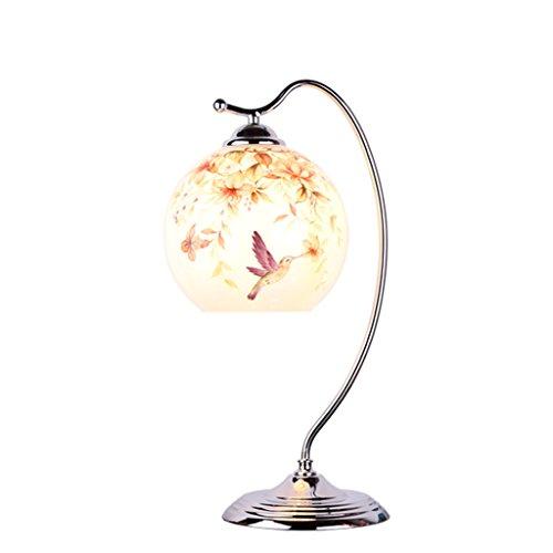 LEGELY tafellamp van ijzer naar modern bloemendesign en vogel beschilderd lamp bruiloft viering E27 woonkamer slaapkamer deco (wit) glazen scherm bal met colibripatroon