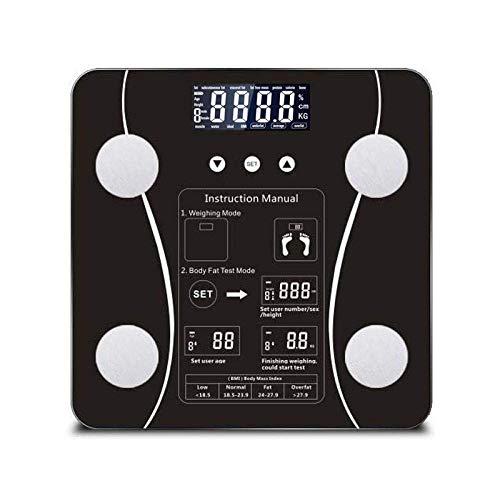 BINGFANG-W Escala de Peso Corporal Báscula, Báscula de baño Digital Equipos de excavación Humano Peso LCD Digital Cuerpo, 180Kg / 400 Libras Negro Cocina