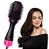 Hair Dryer Brush, Hot Air Brush, One Step Hair Dryer & Volumizer, Styler for Straightening, Curling, Salon Negative Ion Ceramic Electric Blow Dryer Rotating Straightener Curl Brush