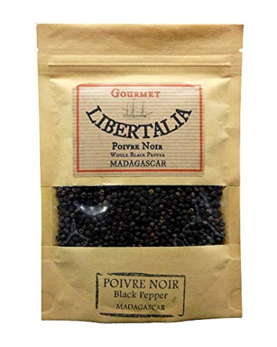 Poivre noir gastronomique en grains de Madagascar 100gr en sachet kraft refermable. Agriculture durable