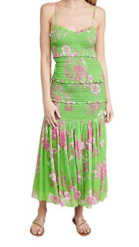 Hemant and Nandita Women's Long Dress, Green, X-Large