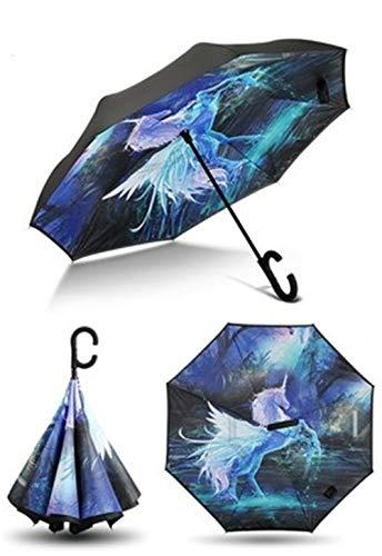 WWJL Paraguas Unicornio A Prueba de Rayos UV Paraguas invertido A Prueba de Viento Plegable Paraguas Doble De pie en un día Soleado y lluviosocomo Imagen
