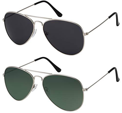 La Optica B.L.M. Herren Sonnenbrillen Damen UV400 Pilotenbrille Fliegerbrille 70er Jahre - Doppelpack Set Silber Farben (Gläser: 1 x Grau, 1 x Grün)
