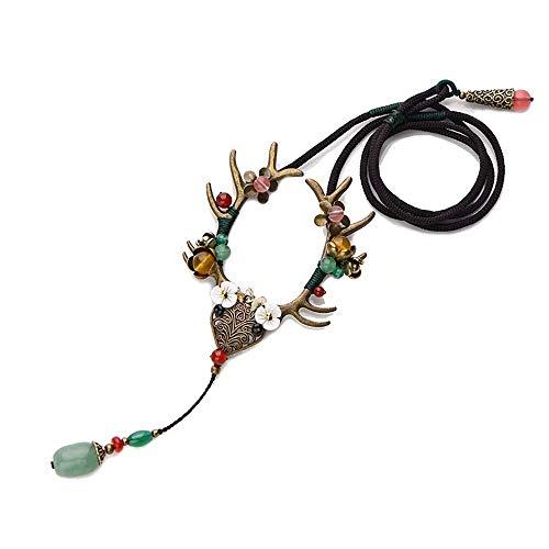 Mangom Retro Geweih Halsketten Rentier Tierhorn Schmuck minimalistischen Stil Schlüsselbein Kette Anhänger