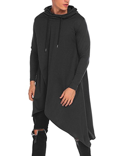 COOFANDY Mens Casual Hooded Poncho Cape Cloak Irregular Hem Hoodie Pullover Black Medium