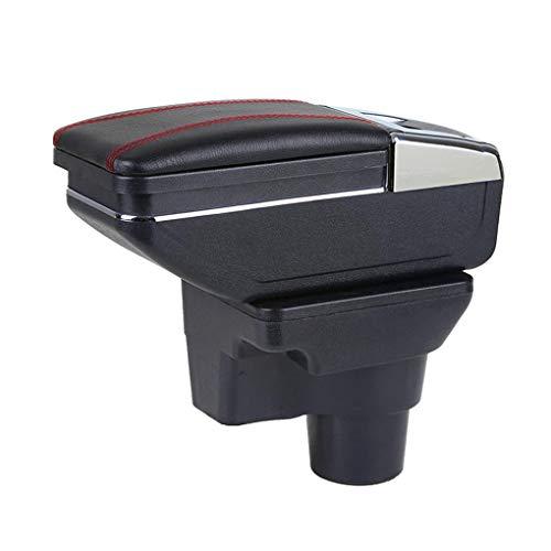 QYHL Caja De Almacenamiento Reposabrazos Consola Central Coche para Rio 4 2017-2018, Asiento Cuero Impermeable, con Contenido De Interfaz USB+Portavasos, con Accesorios Estilo DecoracióN Interior