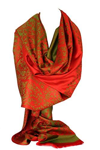 Qualität zwei doppelseitigen Druck selbst geprägte Pashmina Fühlen Wrap Schal Stola Schal (Rot & Grün Blumen)